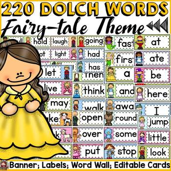 DOLCH WORD WALL DECOR {PRE-PRIMER TO GRADE 3} FAIRYTALE THEME