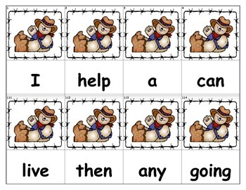 Dolch Words Flashcards - Bear Cowboy