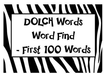 DOLCH sight words - Word Find Pack