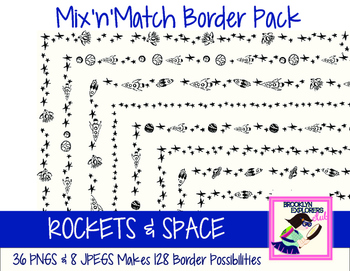 Mix'n'Match Border Set -Rockets/Space (44 Files/128 Border