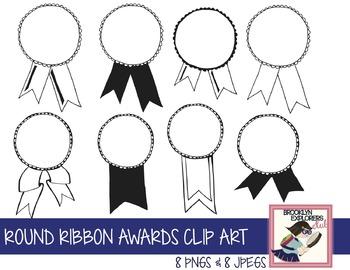 Round Ribbon Awards Clip Art (Perfect for Olympics)