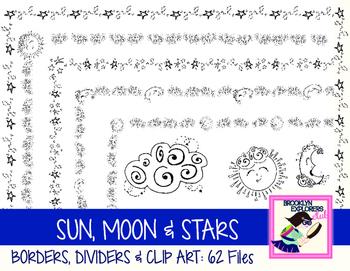 DOLLAR SALE: Sun, Moon and Stars Borders, Dividers & Clip