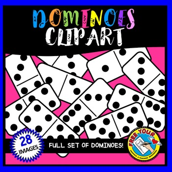 DOMINOES CLIPART: MATH CLIPART: BLACK AND WHITE CLIPART DOMINOES