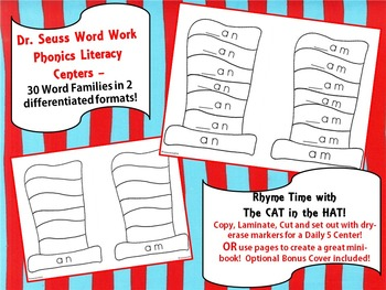 DR. SEUSS Literacy Word Work Center - 60 Wipe Off Word Fam