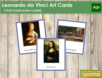 Da Vinci (Leonardo) 3-Part Art Cards - Color Borders