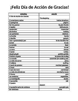 Día de Acción de Gracias- Vocabulary List & Crossword
