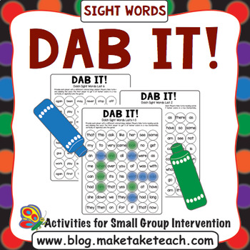 Dab It! Sight Word Game Boards