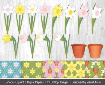 Daffodil Clip Art & Digital Paper Bundle, Spring Flower Il
