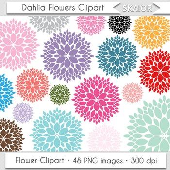 Dahlia Flowers Clipart Rainbow Colors Floral Bouquet Clip