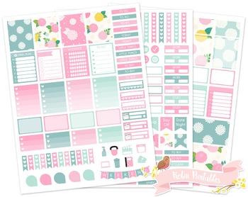 Dahlia Flowers Printable Weekly Planner Stickers fits Erin