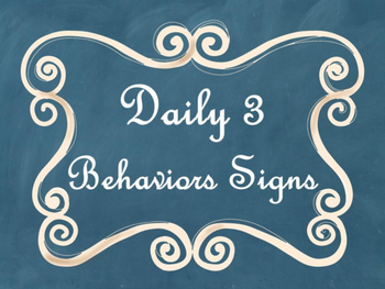 Daily 3 MATH Behaviors Anchor Charts/Posters (Blue Chalkbo