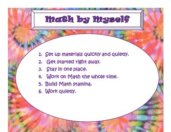 Daily 3 MATH Behaviors Anchor Charts/Posters (Tie Dye with
