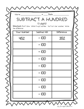 Daily 3 Math Add & Subtract 10 (and 100)
