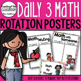 Daily 3 Math Rotation Posters- Bright Polka dots and Chevron