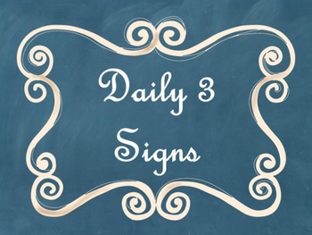 Daily 3 (Three) Math Signs/Posters (Blue Chalkboard/Curly