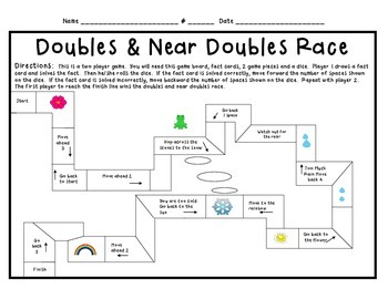 Daily 3 math Doubles and Near Doubles Race