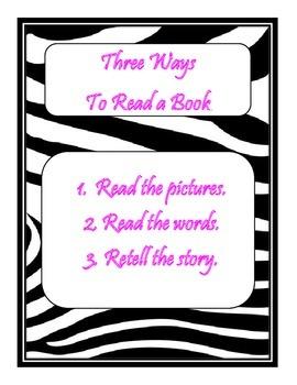 Daily 5 3 Ways to Read a Book/IPICK/EEKK Anchor Chart (Zeb