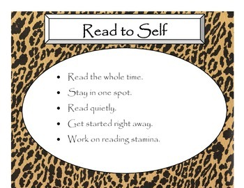 Daily 5 Behaviors Anchor Charts (Cheetah with Black Lettering)