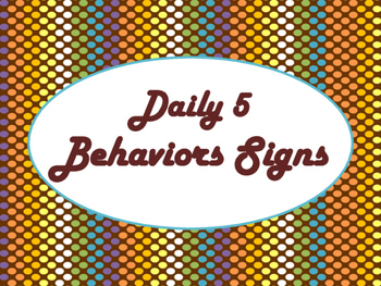 Daily 5 Behaviors Anchor Charts/Signs/Posters (Chocolate R