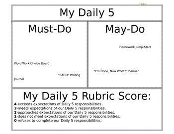 Daily 5 Checklist / Task Chart