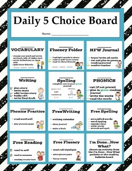 Daily 5 Choice Board with Reading, Writing, Spelling, Voca