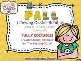 Literacy Center Rotation *Editable* Monday-Friday