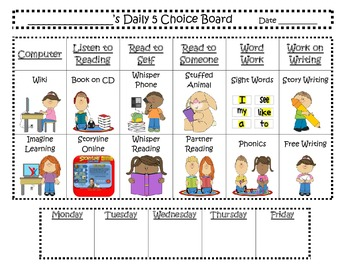Daily 5 Inspired Centers Checklist