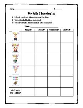 Daily 5 Learning Log Freebie