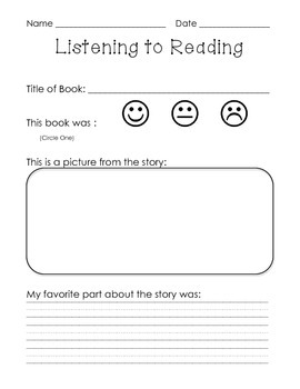 Daily 5 Listening to Reading Sheet