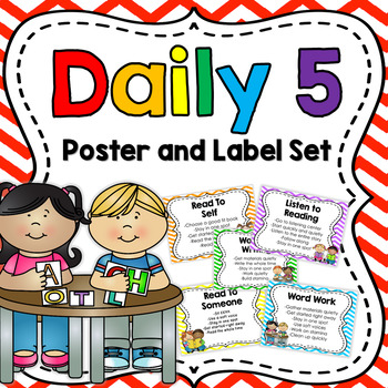 Daily 5 Poster and Label Set: Bright Colors {Editable}