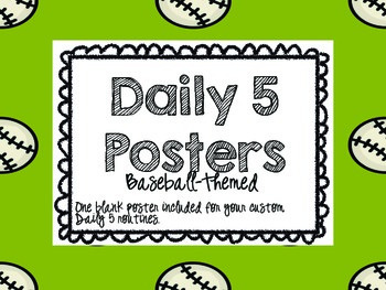 Daily 5 Posters Baseball Theme--FREE!