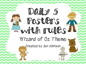 Daily 5 Posters Wizard of Oz FREEBIE!