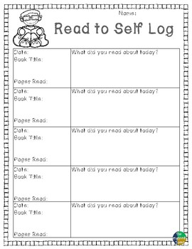 Daily 5 Read to Self Log