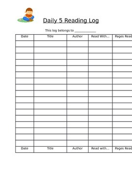Daily 5 Reading Log