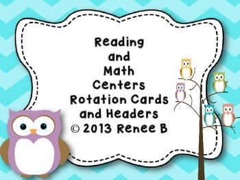 Owl Themed Reading and Math Center Rotation Cards and Headers