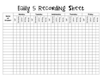 Daily 5 Recording Sheet *FREEBIE!*