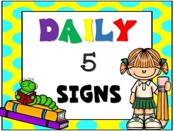 Daily 5 Signs {Polka Dot Rainbow Colors}