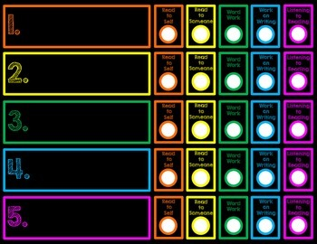 Daily 5 Student Chart Neon Chalkboard PDF