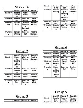Daily 5 Student Schedule Cards