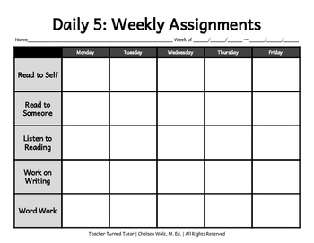 Daily 5: Weekly Assignments {Landscape Format}