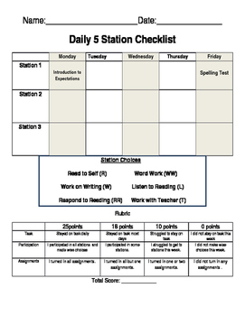 Daily 5 Weekly Checklist with Rubric