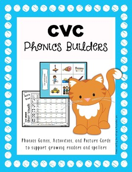 Phonics: CVC Short Vowel Picture Cards & Printable Materials