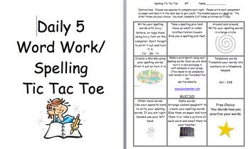 Daily 5 Word Work Tic Tac Toe #7-12