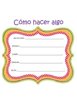 Writing Center- Story Frame SPANISH (Graphic organizer) In
