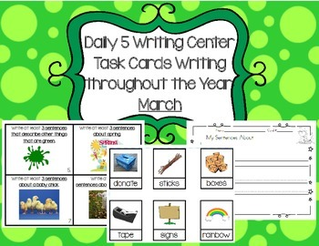 Daily 5 Writing Center Task Cards:  March Edition