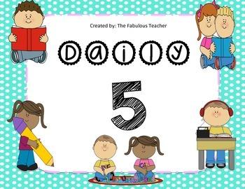 Daily 5 signs (polka dot)