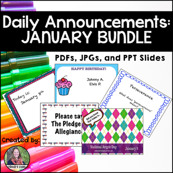 Daily Announcements JANUARY Bundle