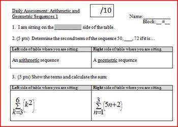 Daily Assessment: Arithmetic and Geometric Sequences 1; tw