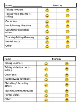 Daily Behavior Note for Parent Communication