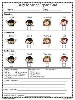 Daily/Weekly Behavior Report Card {Freebie}